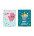set cards happy birthday collection greeting vector image