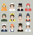 set icons male profession for women vector image