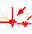 set of red gift bows with ribbons and sale labels vector image