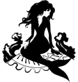 Silhouette mermaid sitting on the stone vector image vector image
