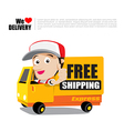 Smile delivery man thumb up on truck with text vector image