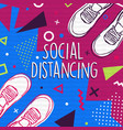 social distancing concept colorful people shoe vector image