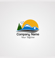 sunrise mountain with flying birds logo icon vector image vector image