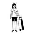 tourist woman with travel suitcase vacations vector image