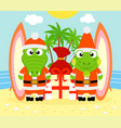 tropical christmas background with alligator vector image