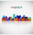 valencia skyline silhouette in colorful geometric vector image vector image