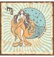 Virgo zodiac signVintage Horoscope card vector image