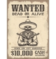 Vitage wild west wanted poster vector image vector image