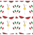 watermelon slices and cocktails seamless pattern vector image