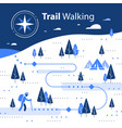 winter hiking map snow forest trail vector image vector image
