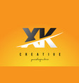xk x k letter modern logo design with yellow vector image vector image
