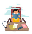 young man reading book on chair at home vector image vector image