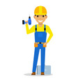 cartoon man builder with a screwdriver vector image