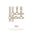 pipes installation routing flat line icon outline vector image