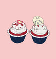 4th of july cupcakes party sketch vector image