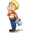A boy thinking of a money tree vector image vector image