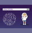 a girl and astronaut cosstume with education vector image vector image