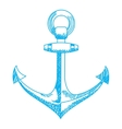 Anchor icon Nautical isolated white blue vector image