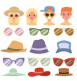 beach accessories summer hats people avatars vector image vector image
