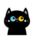 black cat head face silhouette blue yellow eyes vector image vector image