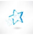 Blue star grunge icon vector image vector image