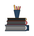 books piled up witn pencils cup vector image
