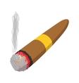 Brown cigar burned cartoon icon vector image vector image