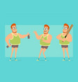 cartoon flat funny fat boy character set vector image vector image
