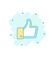 cartoon like icon in comic style thumb up sign vector image vector image