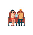 couple sitting in cinema and eating popcorn vector image vector image