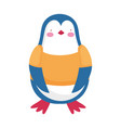 cute penguin standing with shirt cartoon character vector image