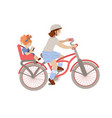 cute pre-teen or teenager girl riding a bicycle vector image vector image