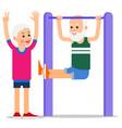 elderly man making pull ups one senior doing vector image vector image
