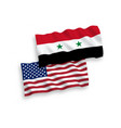 flags of syria and america on a white background vector image