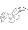 flying crow line drawing vector image vector image