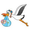 flying stork delivering baby vector image