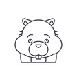 funny beaver line icon concept funny beaver vector image