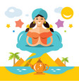 girl genie lamp flat style colorful vector image