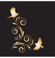 gold vignette with abstract ornament and birds vector image vector image