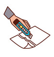 hand with the tool cutting a paper vector image