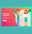 happy businesswomen talking into megaphone vector image