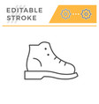 hiking boot editable stroke line outline icon vector image