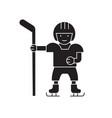 hockey player black concept icon hockey vector image