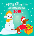 holiday dachshund and winter scene vector image