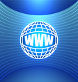 Icon World Wide Web on the Abstract Blue vector image vector image