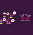 keep social distance banner people in cage vector image