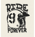 motorcycle helmet t shirt print ride forever vector image vector image