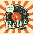 music banner with vinyl record in retro style vector image vector image