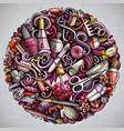 nail salon hand drawn doodles round vector image vector image