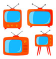 orange cartoon various retro tv set vector image vector image